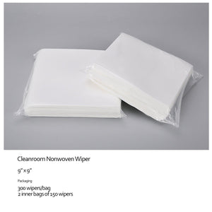 "Cleanroom Wipes, Non-Sterile, Cellulose/Polyester, 6"" x 6"" (30,000 Wipes/100 Bags/Case)"