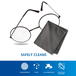 "Eyeglasses Microfiber Cleaning Cloth  (6""x7"", 10 White + 20 Dark Grey) 30 Pack"
