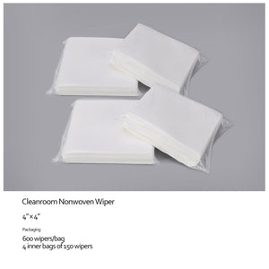 "Cleanroom Wipes, Non-Sterile, Cellulose/Polyester, 4"" x 4"" (60,000 Wipes/100 Bags/Case)"