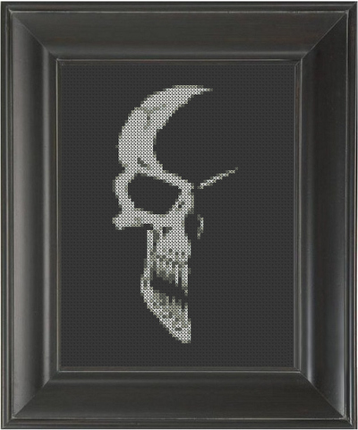 Skull Narrow Shaded - Cross Stitch Pattern Chart
