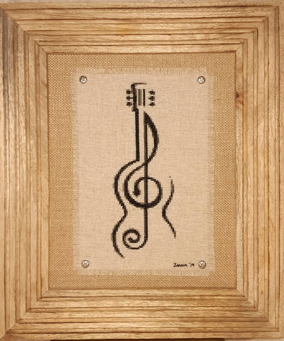 Guitar Treble Clef BW - Cross Stitch Pattern Chart