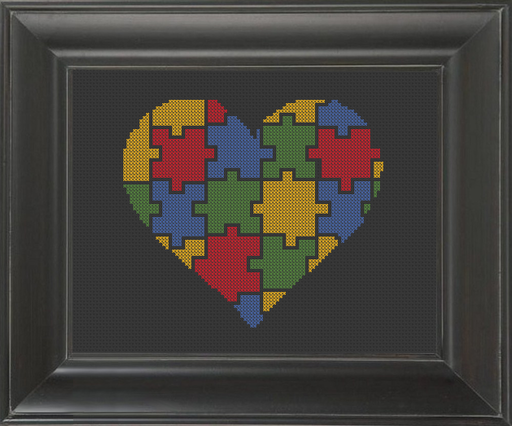 Puzzled Heart - Cross Stitch Pattern Chart