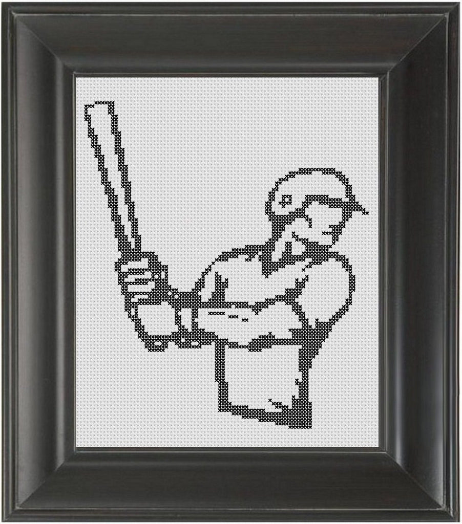 Baseball Player BW - Cross Stitch Pattern Chart