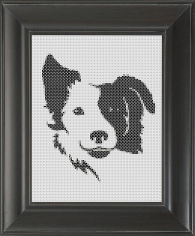 Border Collie BW - Cross Stitch Pattern Chart