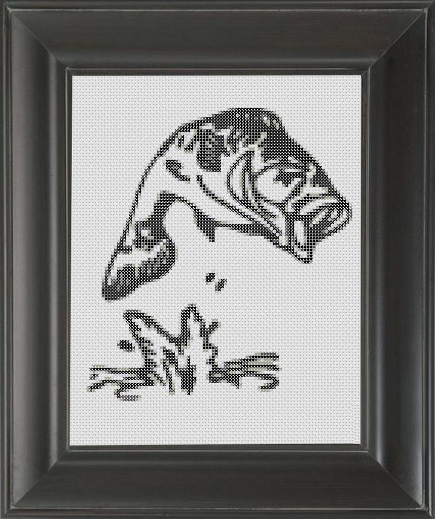 Bass Jumping BW - Cross Stitch Pattern Chart