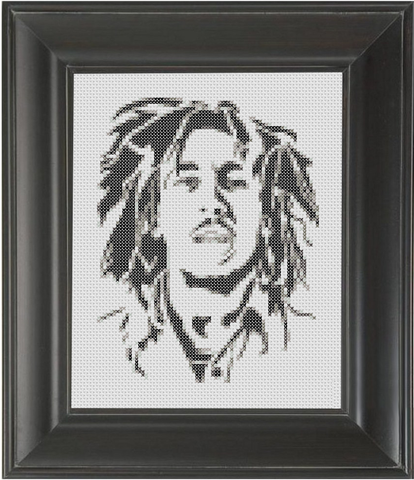 Bob Marley BW - Cross Stitch Pattern Chart