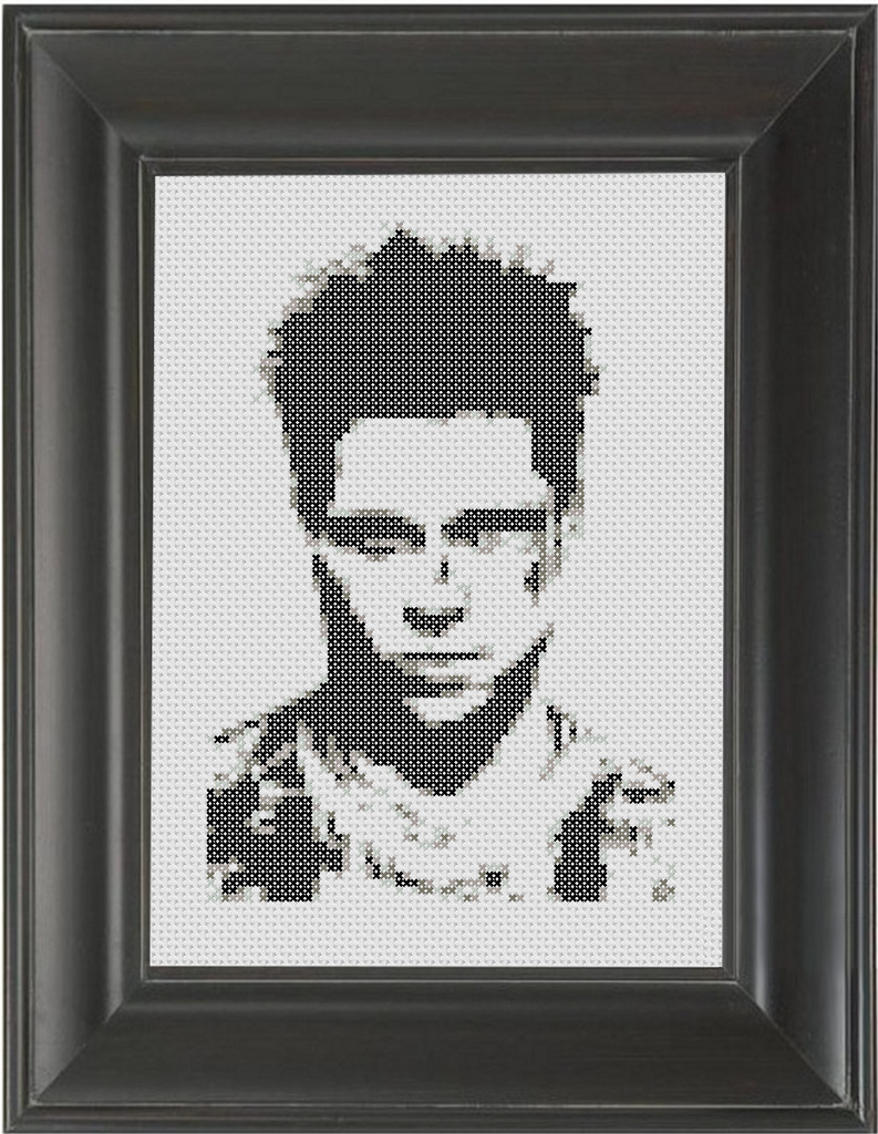 Brad Pitt BW - Cross Stitch Pattern Chart