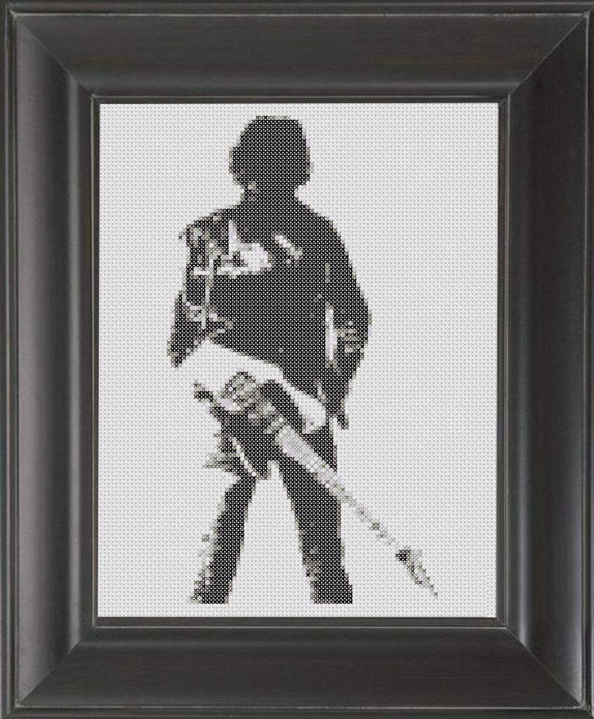 Bruce Springsteen BW - Cross Stitch Pattern Chart