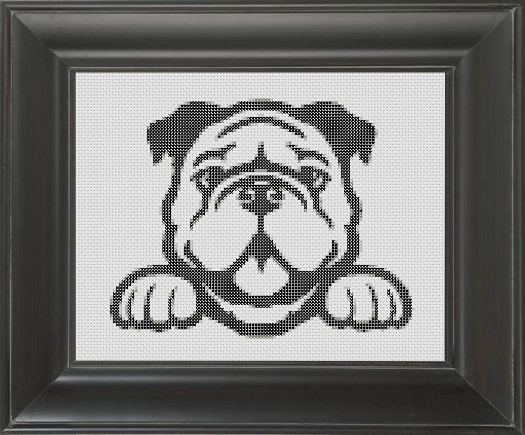 Bulldog BW - Cross Stitch Pattern Chart
