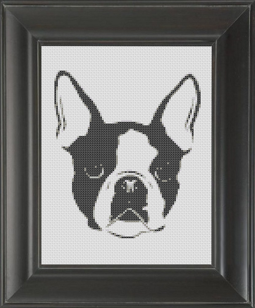 Boston Terrier BW - Cross Stitch Pattern Chart