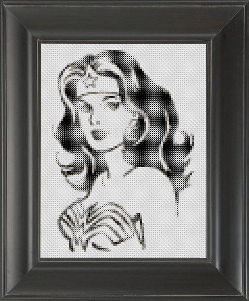 Wonder Woman BW - Cross Stitch Pattern Chart