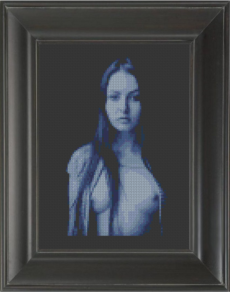 Blue Girl - Cross Stitch Pattern Chart Erotic Nude Sexy NSFW