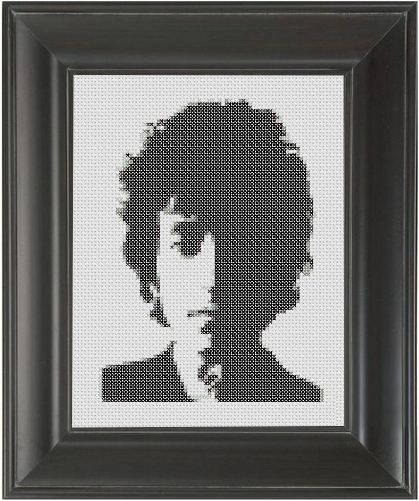 Bob Dylan BW - Cross Stitch Pattern Chart