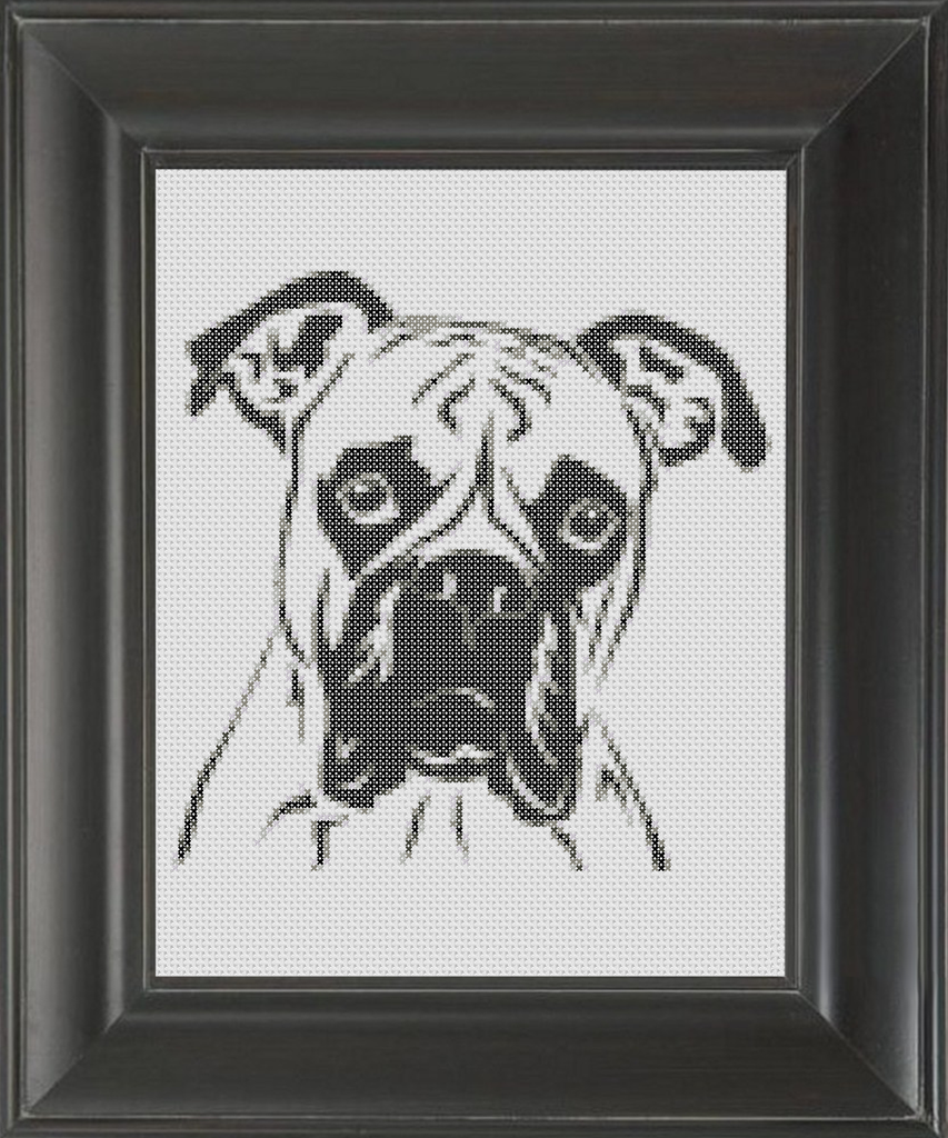 Boxer BW - Cross Stitch Pattern Chart