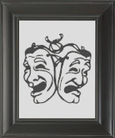 Comedy Drama Masks (Sock and Buskin) BW - Cross Stitch Pattern Chart