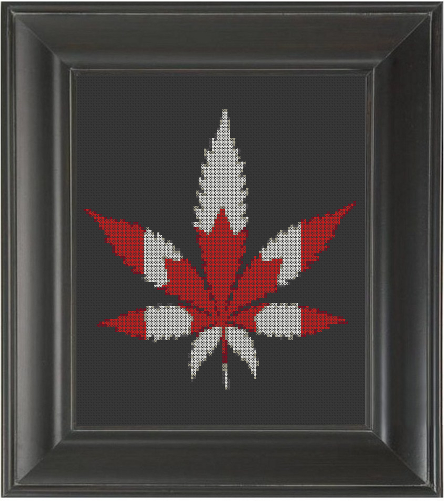 Canada Cannabis - Cross Stitch Pattern Chart Marijuana 420 Legalize It