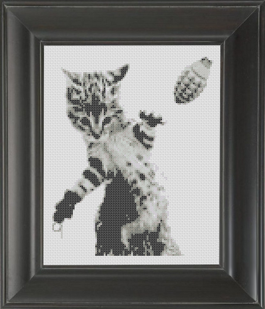 Cat With Grenade BW - Cross Stitch Pattern Chart