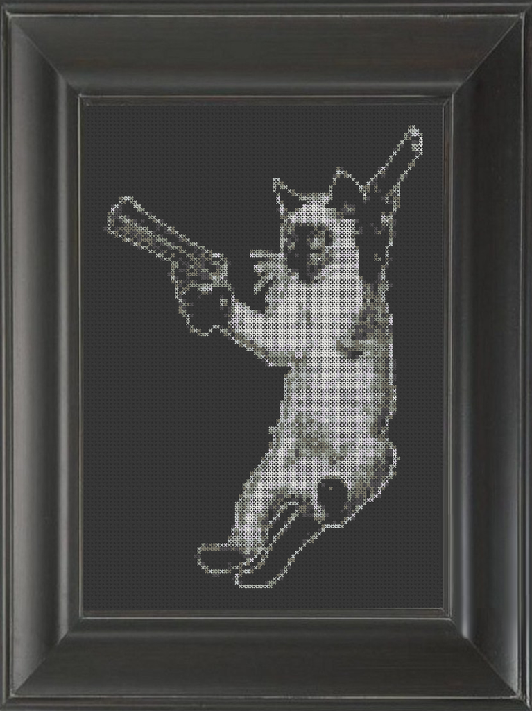 Cat With Guns - Cross Stitch Pattern Chart