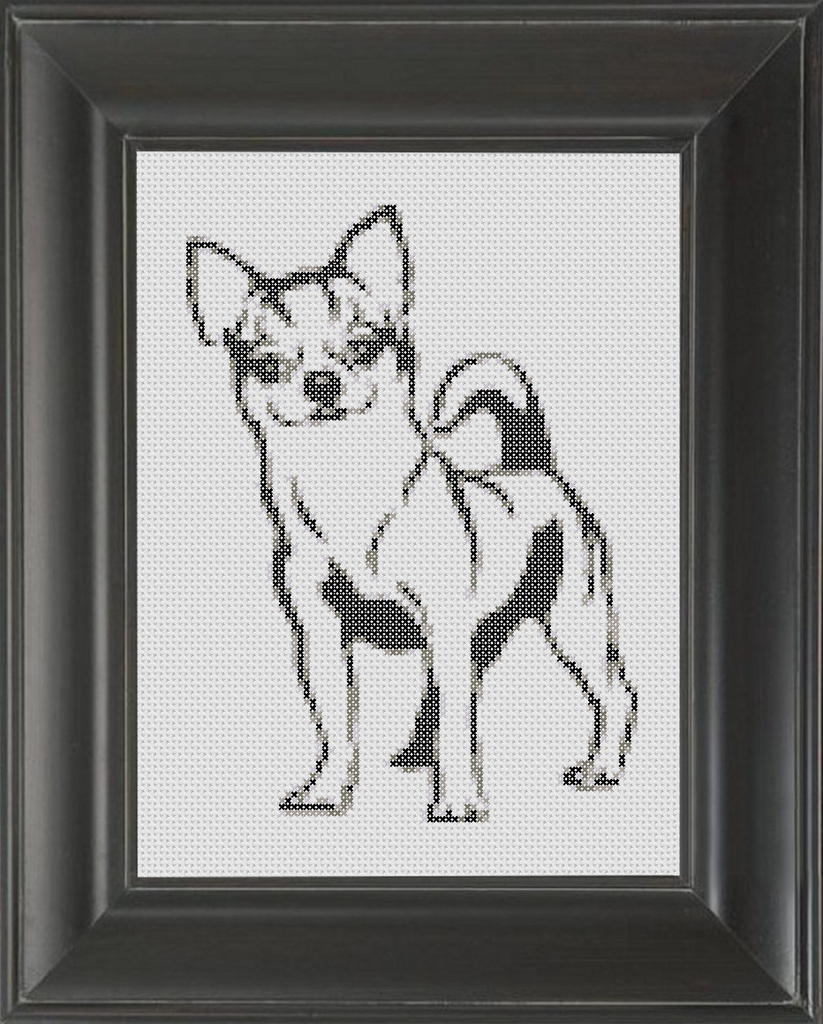 Chihuahua BW - Cross Stitch Pattern Chart