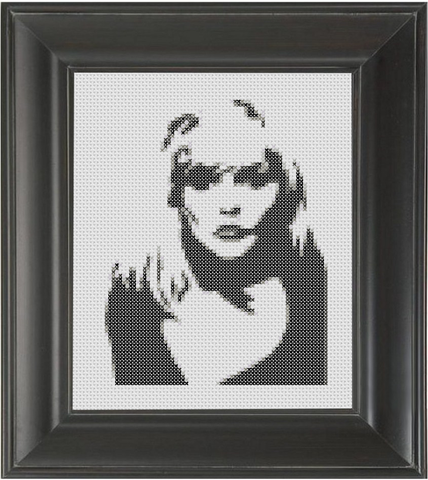 Deborah Harry BW - Cross Stitch Pattern Chart