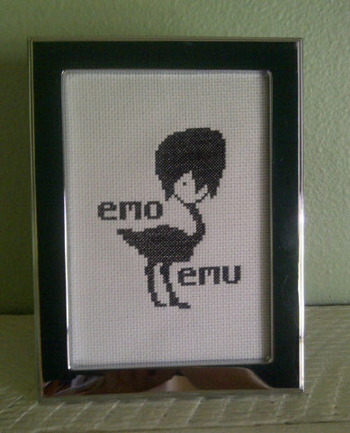 Emo Emu - Cross Stitch Pattern Chart