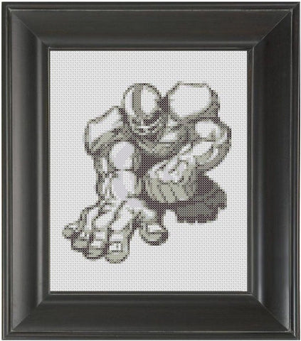 Football Player BW - Cross Stitch Pattern Chart