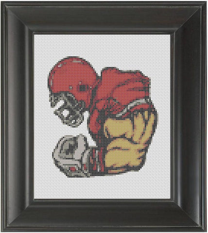 Football Player Red - Cross Stitch Pattern Chart