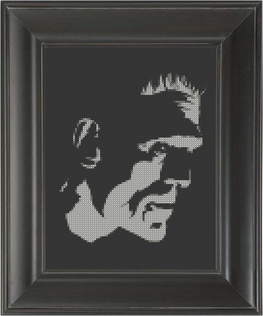 Frankenstein's Monster on Black - Cross Stitch Pattern Chart