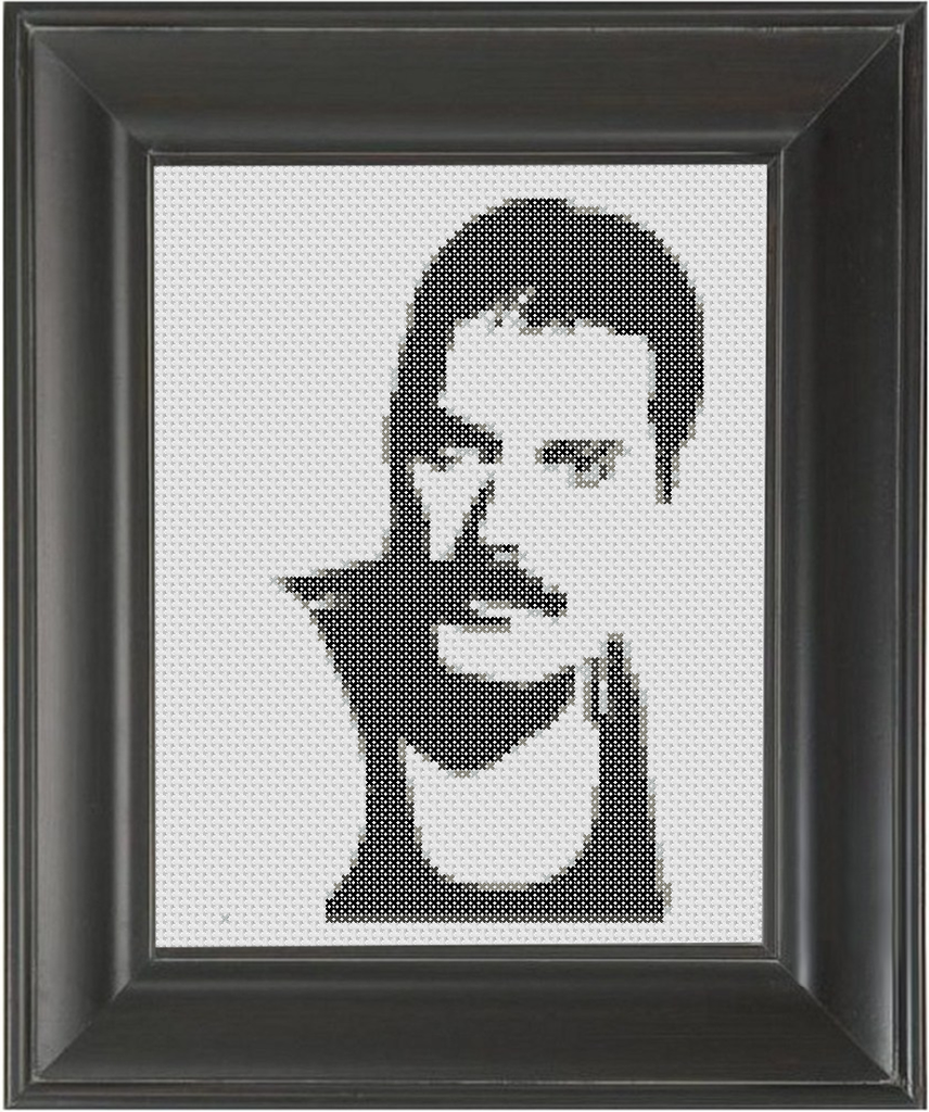 Freddie Mercury BW 01 - Cross Stitch Pattern Chart