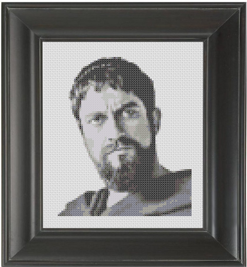 Gerard Butler BW - Cross Stitch Pattern Chart