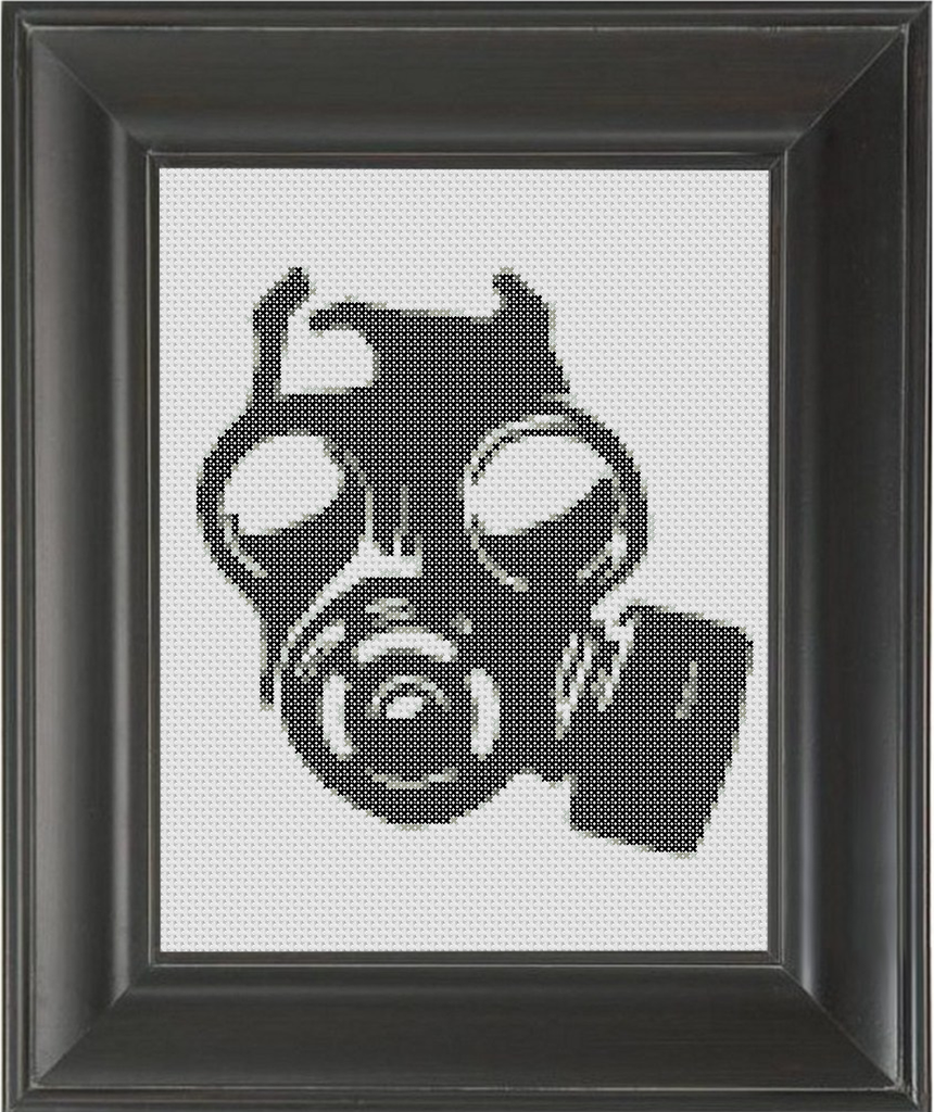 Gas Mask BW - Cross Stitch Pattern Chart