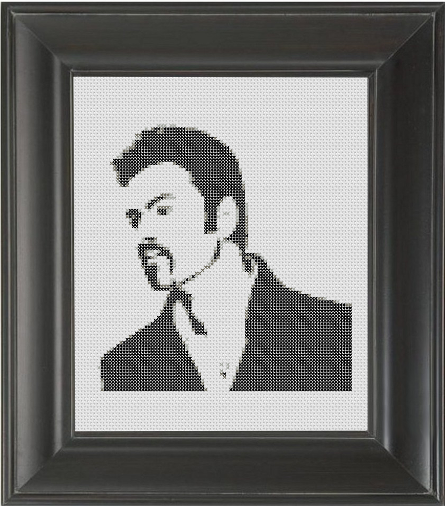 George Michael BW - Cross Stitch Pattern Chart