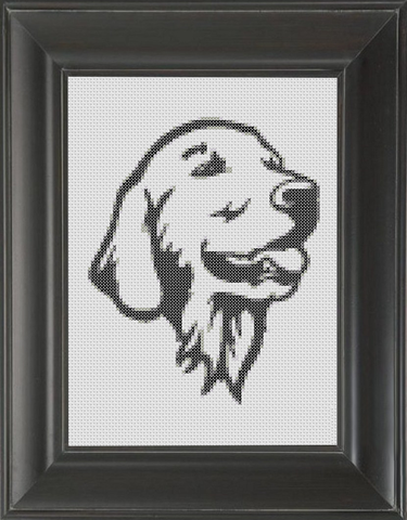 Golden Retriever BW - Cross Stitch Pattern Chart