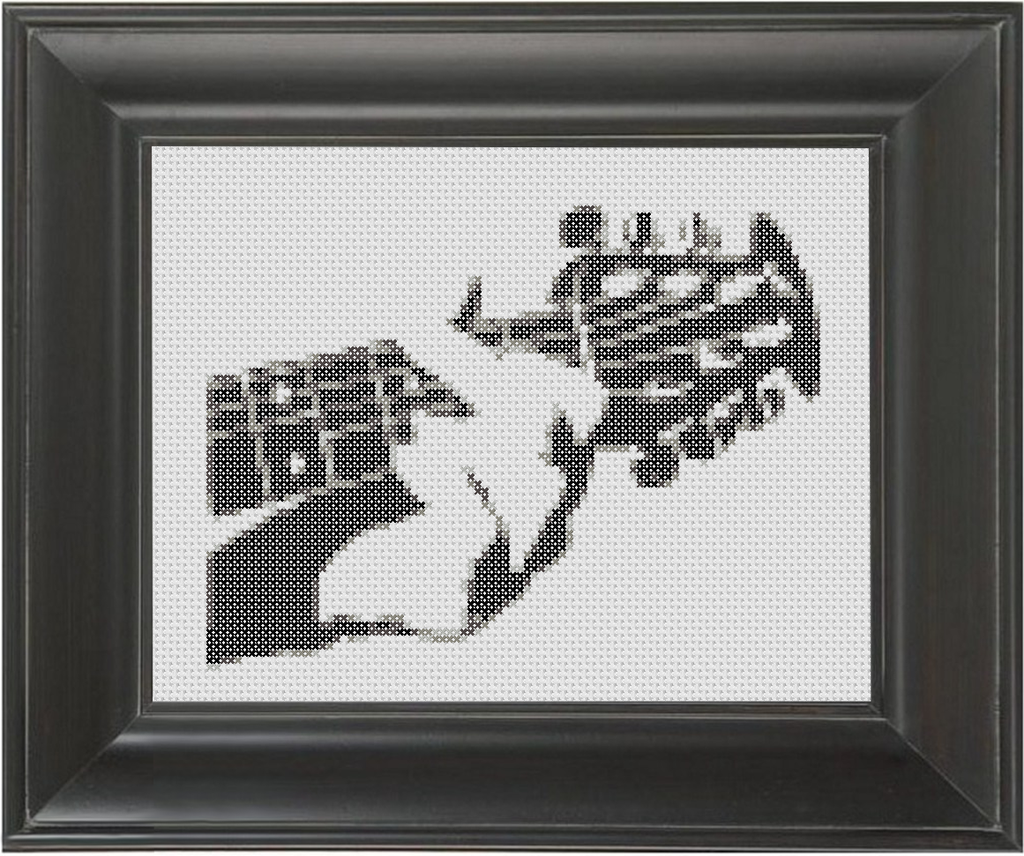 Guitar G Chord BW - Cross Stitch Pattern Chart
