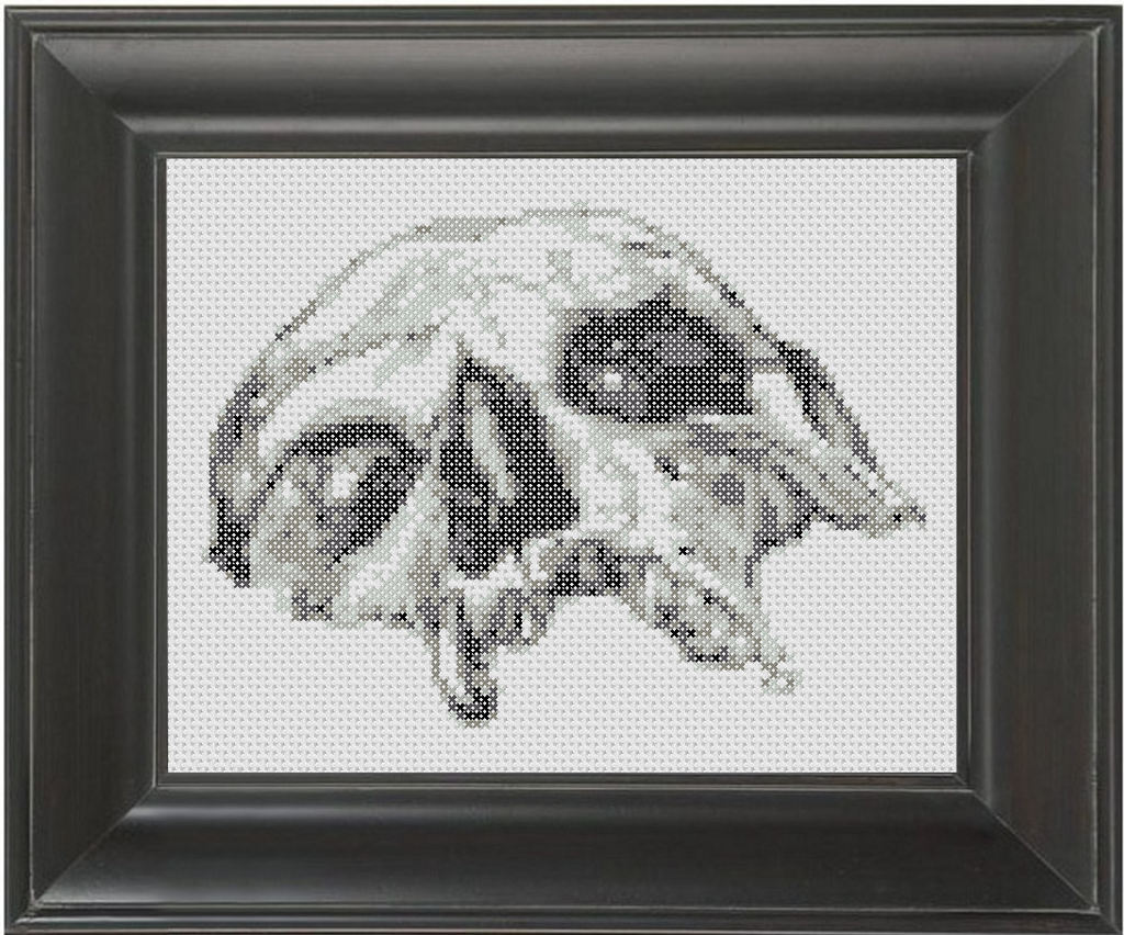 Half Skull BW - Cross Stitch Pattern Chart