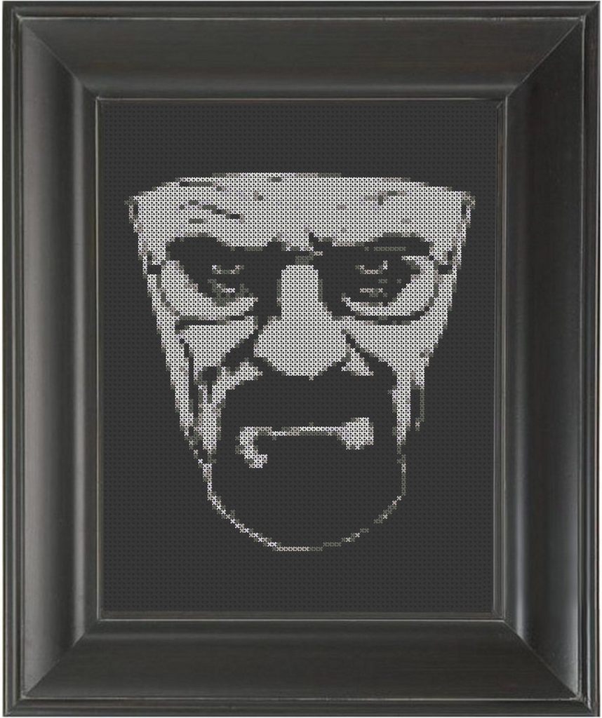 Heisenberg on Black - Cross Stitch Pattern Chart