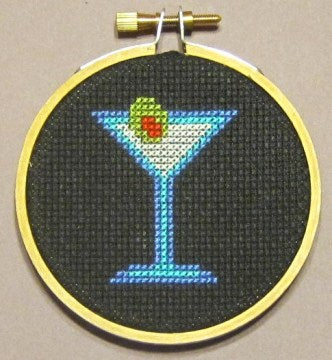 Martini Threezle - Cross Stitch FINISHED PIECE