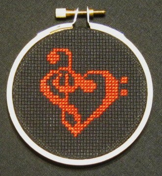Love Music Threezle - Cross Stitch Pattern Chart