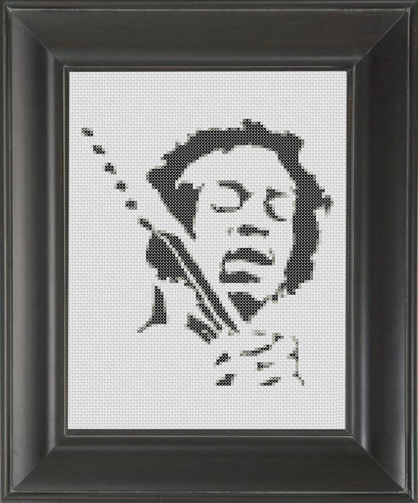 Jimi Hendrix BW - Cross Stitch Pattern Chart