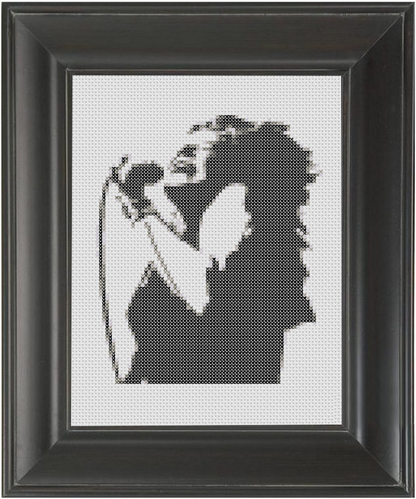 Janis Joplin BW - Cross Stitch Pattern Chart