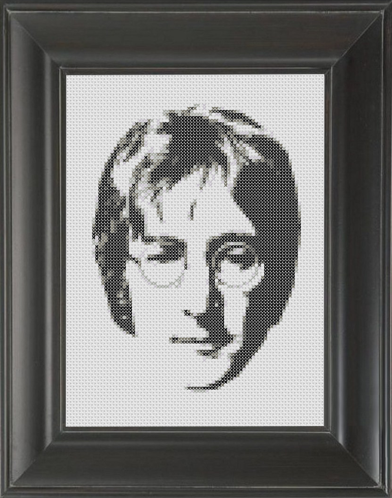 John Lennon BW - Cross Stitch Pattern Chart