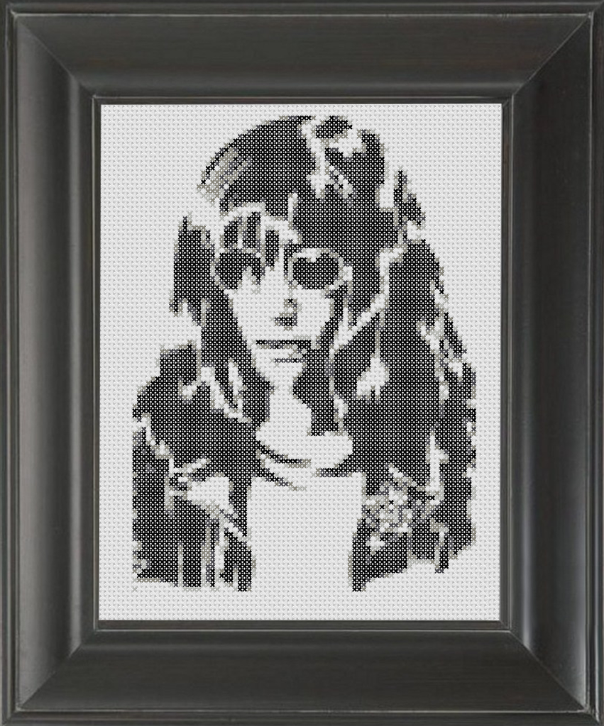 Joey Ramone BW - Cross Stitch Pattern Chart
