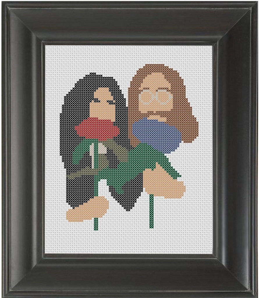 John and Yoko - Cross Stitch Pattern Chart
