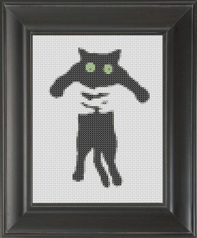 Kitty Squeeze BW - Cross Stitch Pattern Chart