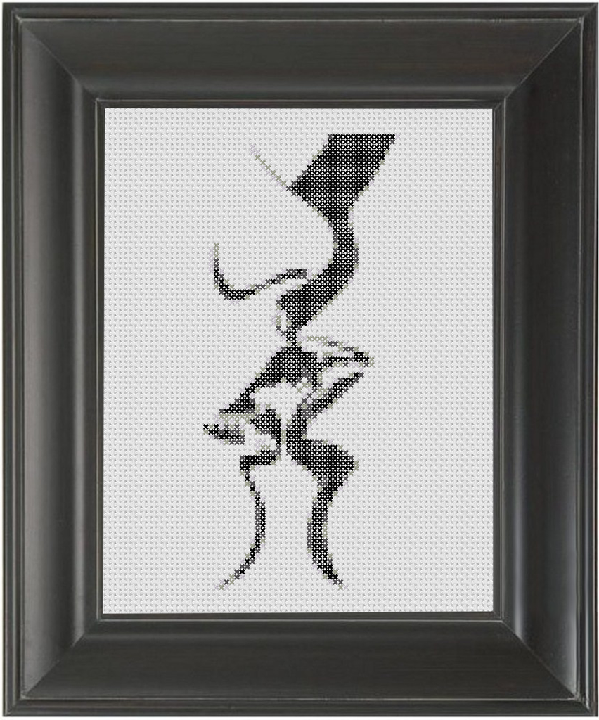 Kissing BW - Cross Stitch Pattern Chart