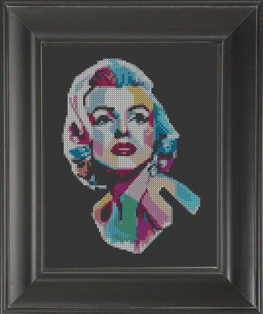 Marilyn Monroe Color Burst - Cross Stitch Pattern Chart