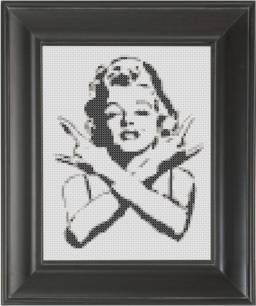 Marilyn Rocks BW - Cross Stitch Pattern Chart