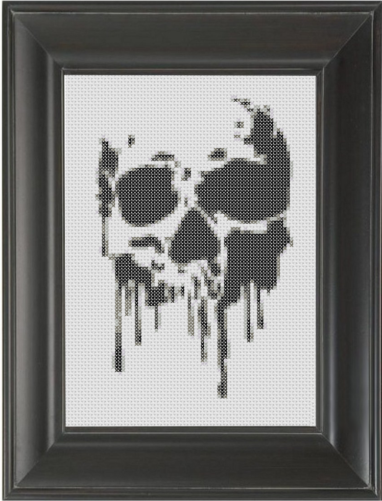 Melting Skull BW - Cross Stitch Pattern Chart