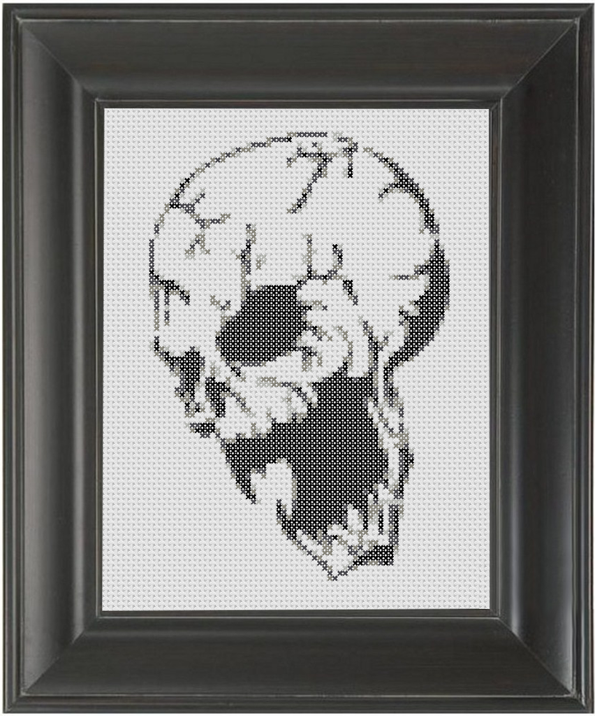 Menacing Skull BW - Cross Stitch Pattern Chart
