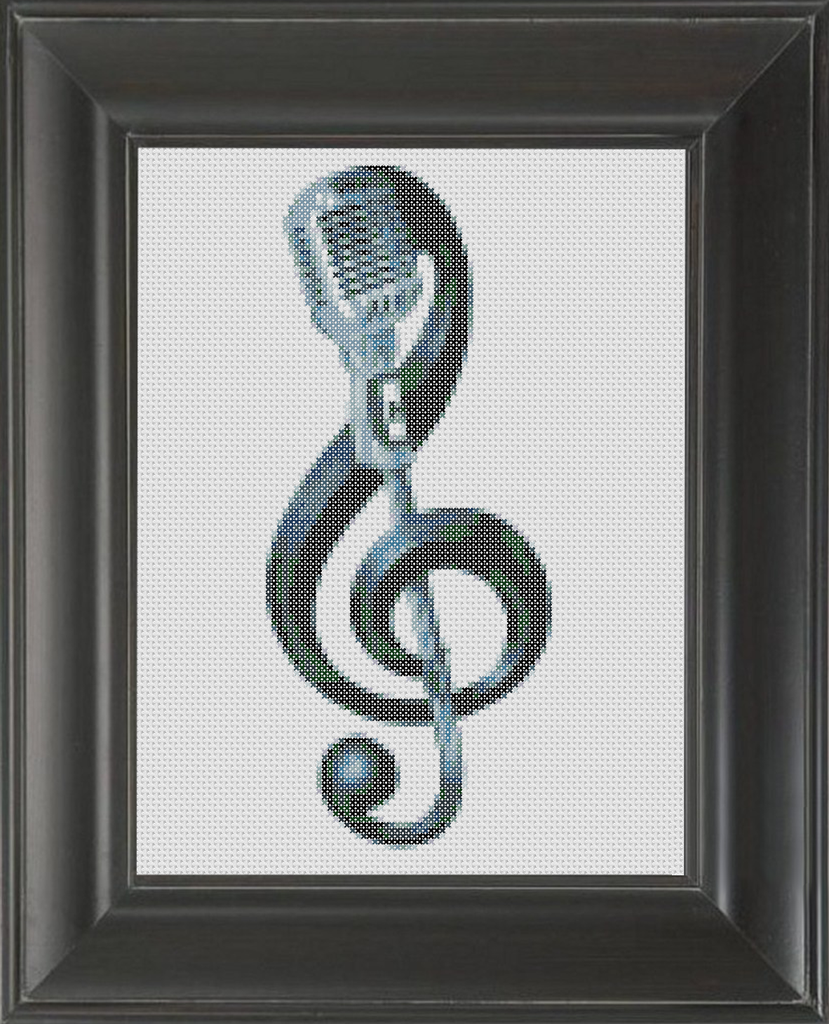 Mic Treble Clef - Cross Stitch Pattern Chart